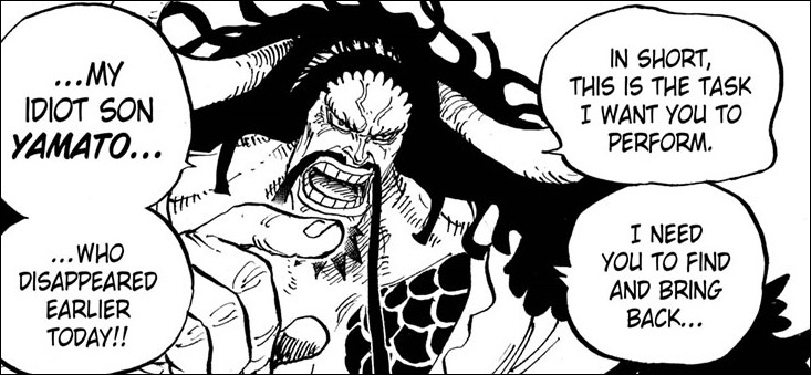 """One Piece chapter 979 - Kaido task the Tobiroppo to find his """"son"""""""