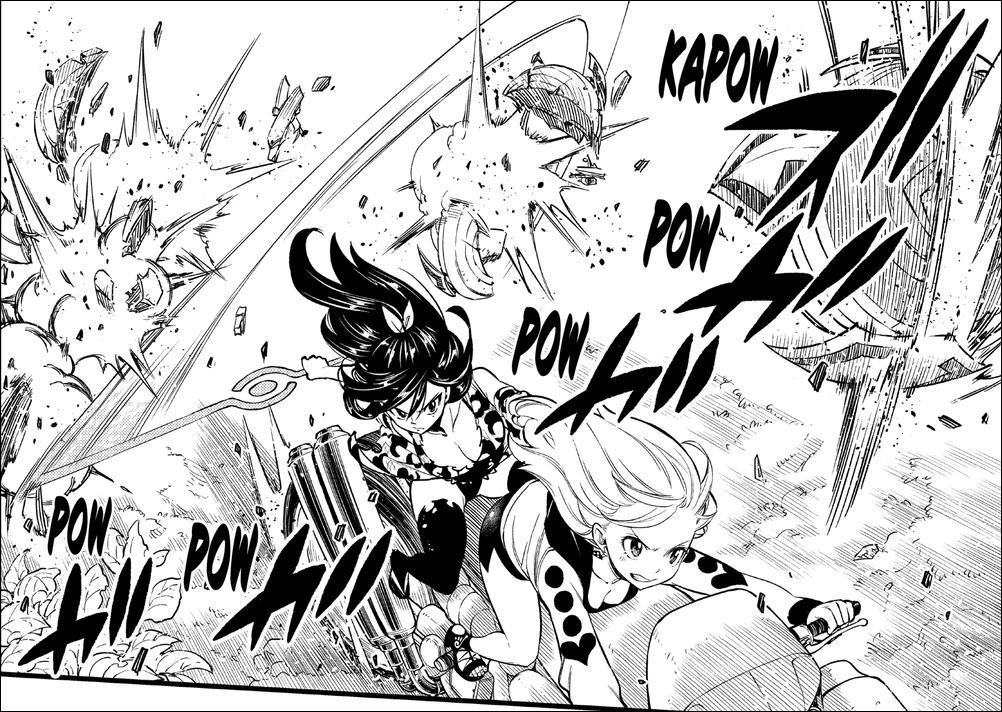 Edens Zero chapter 128 - Rebecca and Homura defending against the robots
