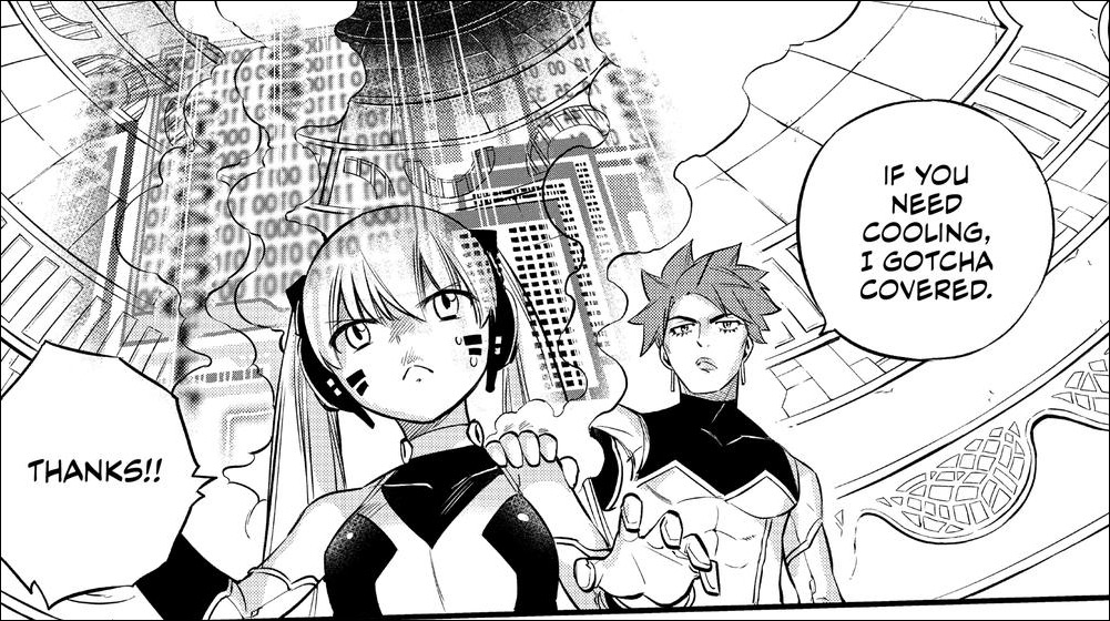 Edens Zero chapter 128 - Laguna assisting Hermit with the cooling