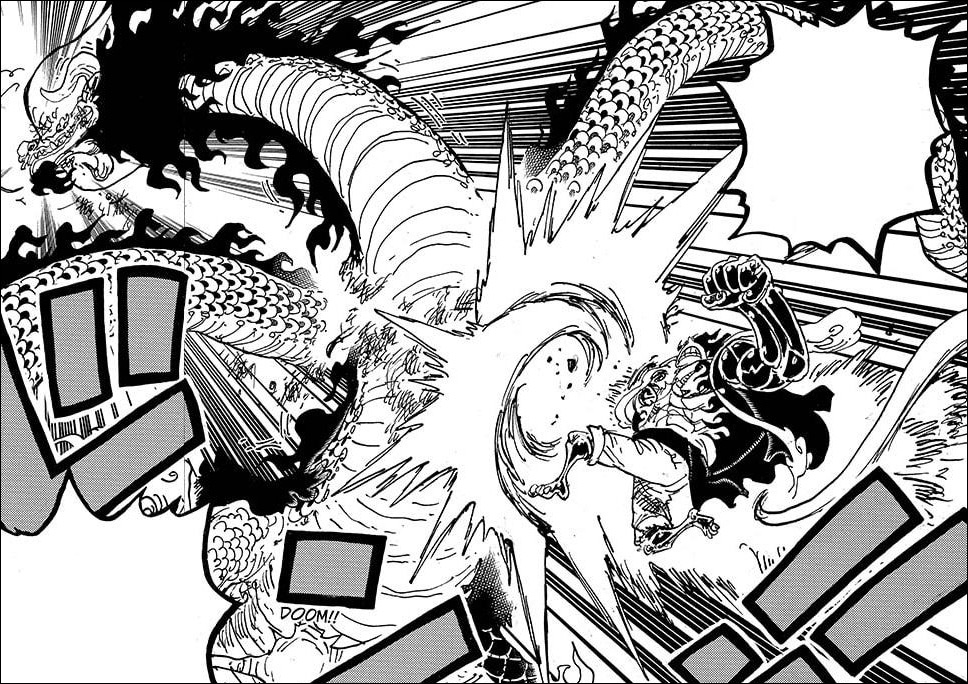 One Piece chapter 1002 - Luffy attacks Kaido