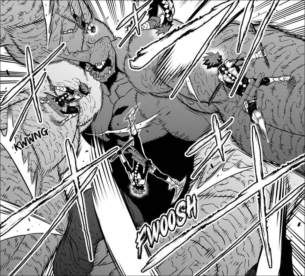 Kaiju No.8 Chapter 28 - Soshiro takes on the Humanoid Kaiju attacking the Defense Force base