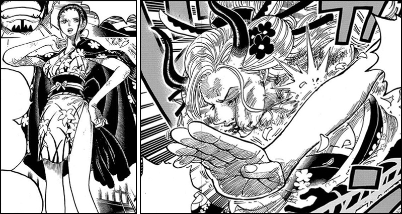 One Piece Chapter 1005 - Robin defends Sanji from Black Maria
