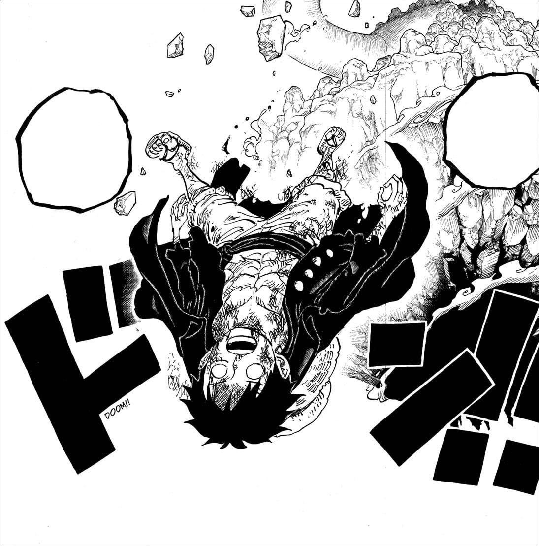 One Piece chapter 1013 - Luffy knocked out and knocked off Onigashima Island by Kaido