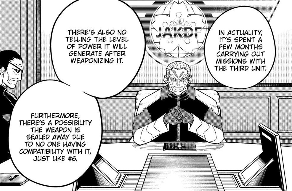 Kaiju No. 8 chapter 38 - Isao lays out the disadvantages of converting Monster #8 into a weapon