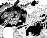 One Piece chapter 1019 - Yamato within his Hybrid Devil Fruit form VS Kaido
