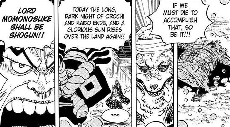 One Piece chapter 1022 - Raizo declares the resolve the Akazaya Samurai hold