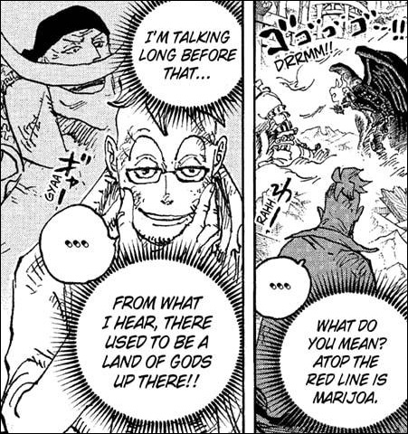 One Piece chapter 1023 - Marco recalls memories of Whitebeard talking about a race of gods that lived atop the Red Line in the distant past